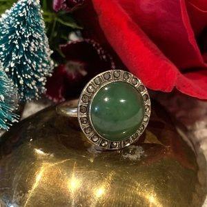 Vintage Sterling Silver Jade Marcasite Ring SZ 6.5